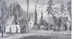 Croquis du château d'Elincourt, de sa ferme et de la chapelle réalisé en 1927